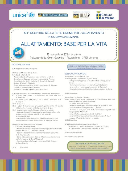 XIII Incontro della Rete Insieme per l'allattamento – Allattamento: base per la vita