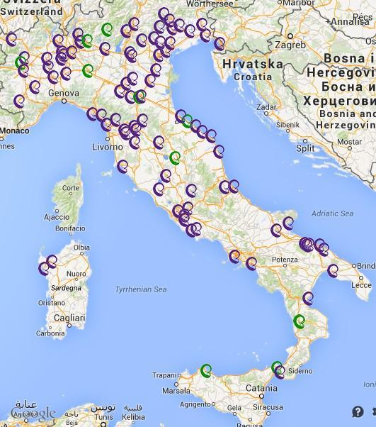 Mappa dei FLASH MOB per l'ALLATTAMENTO – SAM 2014